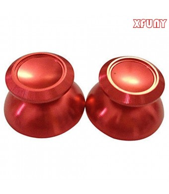 XFUNY (TM) Metal Analog Thumbsticks Thumb Stick Joystick Replacement Cap Cover for PS4 PlayStation 4 Red