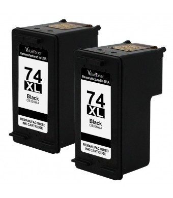 Valuetoner Remanufactured Ink Cartridge Replacement For Hewlett Packard HP 74XL High Yield CH623BN CB336WN (2 Black) 2 Pack Compatible With Deskjet D4260 D4280 D4360 Officejet J5725 J5730 J5740 J5750 J5780 J5790 J6405 J6450 J6480 Photosmart C4200 C4250 C4