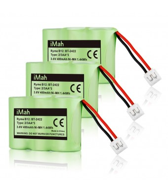 3-Pack iMah Ryme B12 Rechargeable Cordless Phone Battery for ATandT 2422 2250 2255 3000 4051 VTech 80-5074-00-00 GE TL96155 Sanik 3SN-2/3AA30-S-J1 Home Handset Telephone