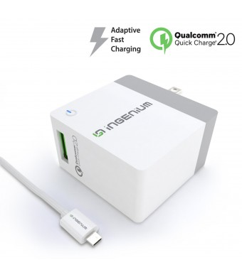 Ingenium [NEXT-GEN Quick Charge 2.0] USB Adaptive Fast Wall Charger with Foldable Plug for Android, Samsung Galaxy S6/S7/EDGE, NOTE 4/5, LG G4 V10, Moto X/G/Droid, Sony Xperia Z5 and More
