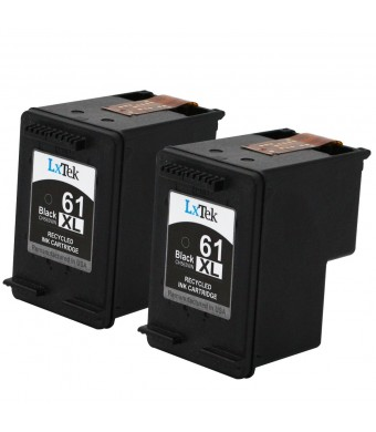 LxTek Remanufactured Ink Cartridge Replacement For HP 61XL (2 Black) CH563WN High Yield