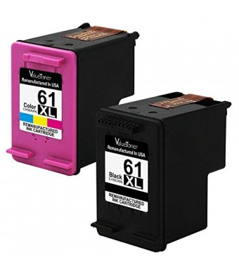 Valuetoner Remanufactured Ink Cartridge Replacement For Hewlett Packard HP 61XL 61 XL High Yield CR258BN CH563WN CH564WN (1 Black, 1 Tri-Color) 2 Pack - With Ink Level