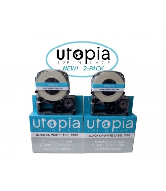 Utopia Label Tape Refill Cartridge for Epson LabelWorks LW-300 LW-400 LW-500 LW-600 LC-4WBN9 2-PACK (Black on White)