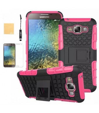 Galaxy E5 Case, ANLI(TM) Heavy Duty Series Tough Rugged Dual Layer Protection Case Cover with Build in Stand for Samsung Galaxy E5 E500,with Screen Protector, Stylus and Cleaning Cloth Hot Pink