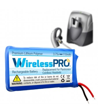 Wireless Pro Premium Replacement Rechargeable Battery for Plantronics CS70 CS70N Avaya AWH75N Headset Replaces Plantronics Battery 66278-01