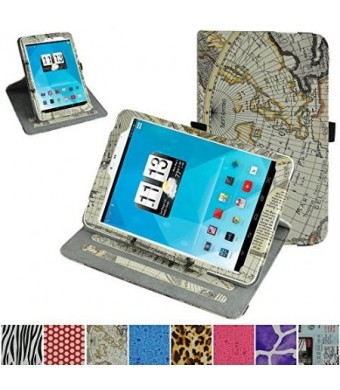 "Mama Mouth 360 Degree Rotating Stand With Cute Lovely Pattern Case for 7.85"" Trio AXS 4G 3G Android Tablet,Map Wihte"