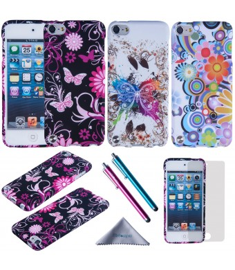 iPod Touch 6 /5 Case, Wisdompro 3 Pack Bundle of Color and Graphic Soft TPU Gel Protective Case Covers for Apple iPod Touch 5/6 (Flower Butterfly Pattern)
