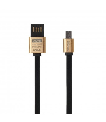 DiGiYes Double Sides USB 2.0 Cable Micro Interface Metal Data Cable / Charging Cable Flat Noodle Cable for Other Smart Phones and Tablets with Micro Interface (Black)