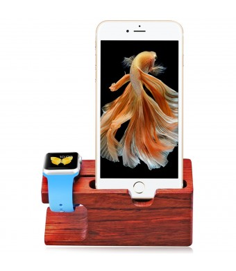 Aerb Rose Wood Charging Stand Bracket Docking Station Stock Cradle Holder for iPhone and Apple Watch 38mm 42mm