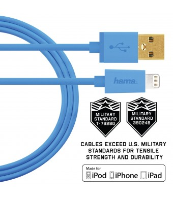 Hama Apple MFi Certified Lightning to USB Charge/Sync Cable, U.S. Military Grade , 3ft Blue