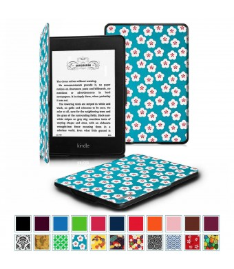 Fintie SmartShell Case for Kindle Paperwhite - The Thinnest and Lightest Leather Cover for All-New Amazon Kindle Paperwhite (Fits All versions: 2012, 2013, 2014 and 2015 New 300 PPI), Floral Blue