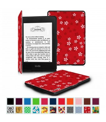 Fintie SmartShell Case for Kindle Paperwhite - The Thinnest and Lightest Leather Cover With Auto Sleep/Wake for All-New Amazon Kindle Paperwhite (Fits All 2012 2013 2015 and 2016 Versions), Floral Red