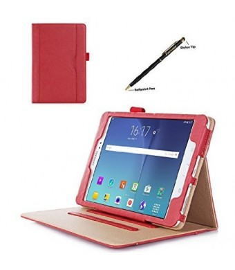 ProCase Samsung Galaxy Tab A 8.0 Case - Standing Cover Folio Case for 2015 Galaxy Tab A Tablet (8.0 inch, SM-T350 P350), with Multiple Viewing angles, auto Sleep/Wake, Document Card Pocket (Red)