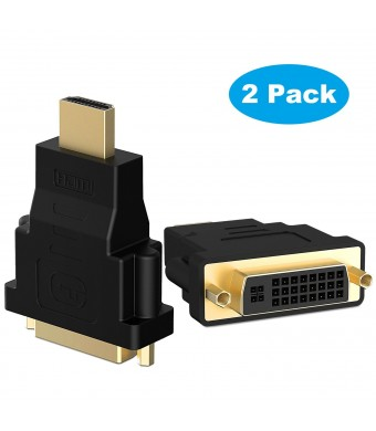 HDMI to DVI, Rankie 2-Pack Gold-plated HDMI HDTV to DVI (Male to Female) Adapter Converter