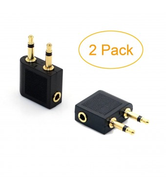 """VONOTO 2 Pack 3.5mm 1/8"""" 2 male to 1 female Headphone Jack Socket Audio adapter - 3.5mm female to double male F/M adapter"""