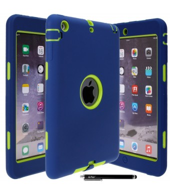 E LV Dual Layer Armor Protective Case for iPad Mini,Mini 2 and Mini 3 with Stylus and Cleaning Cloth - Dark Blue/Green