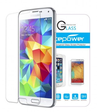 Galaxy S5 Screen Protector, ACEPower Premium Tempered Glass Screen Protector for Galaxy S5 , 99.9% Clarity and Touchscreen Accuracy