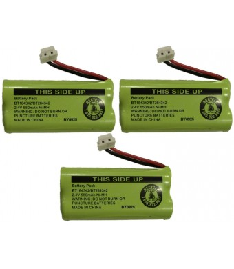 JustGreatDealz Battery BT184342 / BT284342 for ATandT Vtech GE RCA and Clarity Phones 2.4V 550mAh Ni-MH (3-Pack)