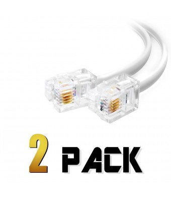 shoponlinetoday (2 Pack) 12 Inch Short Telephone Cable Rj11 Male to Male 1ft., Phone Line Cord