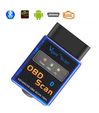 OBD2 Scanner Adapter Amtake Bluetooth OBDII Auto Diagnostic Scan Tool Code Reader Check Engine Light Diagnostics for Android Device Torque pro