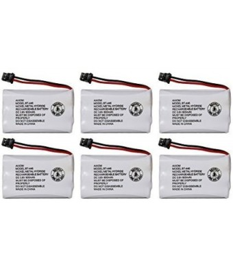 Axiom Rechargeable Battery For Uniden BT-446, BT-1005, ER-P512 (6-Pack)