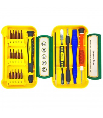 Best Pry Bar Tweezer Magnetic Screwdriver Set with 15 Pieces Super Hardness Bits Repair Kit for Pc, Cel