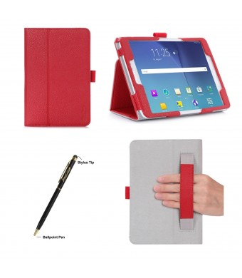 ProCase Samsung Galaxy Tab S2 8.0 Case - Stand Folio Cover Case for 2015 Galaxy Tab S2 Tablet (8.0 inch, SM-T710 / T715), with Hand Strap, auto Sleep/Wake (Red)