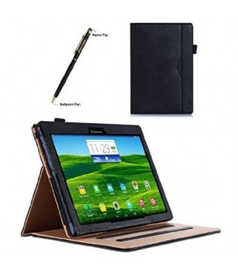 ProCase Lenovo Tab 2 A10 Case - Leather Stand Folio Case Cover for Lenovo Tab 2 A10-70 10-Inch Tablet, Support Auto Sleep/Wake, with Multiple Viewing angles, Document Card Pocket (Black)