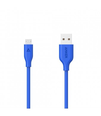 Anker PowerLine Micro USB (10ft) - Charging Cable, with Aramid Fiber and 10000+ Bend Lifespan for Samsung, Nexus, LG, Motorola, Android Smartphones and More (Blue)