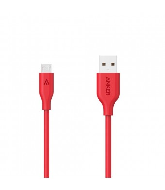 Anker PowerLine Micro USB (10ft) - Charging Cable, with Aramid Fiber and 10000+ Bend Lifespan for Samsung, Nexus, LG, Motorola, Android Smartphones and More (Red)