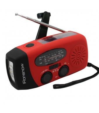 [2016 Upgraded Version] iRonsnow IS-088+ [1000mAh] Solar Hand Crank Radio AM/FM/NOAA/WB Weather Emergency Radio, Dynamo LED Flashlight Power Bank for iPhone/Android Smart Phone (Red)