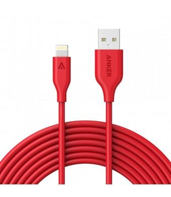 Anker PowerLine Lightning (10ft) Apple MFi Certified Lightning Cable / Charger Cord, for iPhone 7/7 Plus 6s/6s Plus/6/6 Plus/5s/5, iPad mini/4/3/2, iPad Pro Air 2(Red)