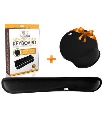 CushionCare Keyboard Wrist Rest Pad - Mouse Pad Included - Ergonomic Support - Made of Foam That Is Built to Last - Provides Comfort and Support to Hands While Typing - 3 Years Warranty