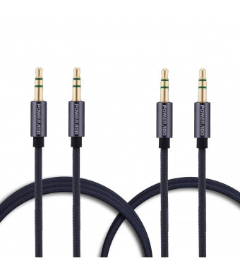[2-Pack] Poweradd Nylon Braided AUX Cable (6.6 Feet + 3.3 Feet) Gold Plated 3.5mm Male to Male Stereo Audio Cable for Headphones, Speakers, iPhone, iPad, iPod, Android and More - Gray