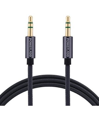 Poweradd Nylon Braided 3.5mm Auxiliary Cable (6.6 Feet / 2 Meters) Gold Plated Male to Male Stereo Audio Cable with Aluminum Connectors for Speakers, iPhone, iPad, iPod, Android and More - Gray