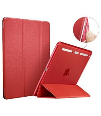 ESR Corner/Bumper Protection Smart Cover Case with Soft TPU Bumper and Auto Wake/Sleep Function for iPad Air 2/iPad 6, Raspberry Red