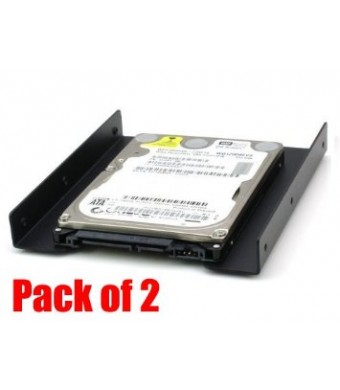 """iMBAPrice (Pack of 2) 2.5"""" To 3.5"""" Bay SSD HDD Notebook Hard Disk Drive Black Mounting Bracket Adapter Tray Kit"""