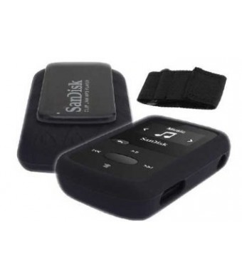 HappyZone Silicone Skin Case Cover with Free Armband For SanDisk Clip Jam MP3 Player (Model SDMX26), Black
