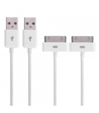 Aibocn Apple MFi Certified 2 Pack 30 Pin Sync and Charge Dock Cable for iPhone 4 4S / iPad 1 2 3 / iPod Nano / iPod Touch - White