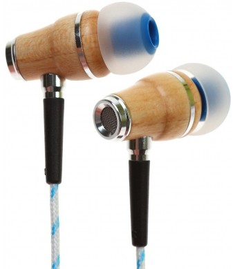 Symphonized NRG Premium Genuine Wood In-ear Noise-isolating Headphones with Microphone (Blue Stripe)