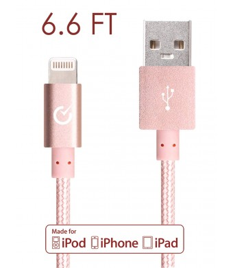 Volts Nylon Braided Lightning to USB Cable with 8-Pin Connector for Apple iPhone 6, 6 Plus, iPod, iPad, Apple MFi Certified, 2 Meter - Rose Gold ...