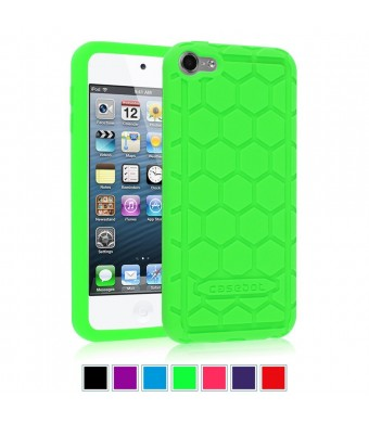 Fintie iPod Touch 6th Generation Case - [Shock Proof] Anti Slip [Honey Comb Series] Silicone Protective Case Cover [Kids Friendly] for Apple iPod Touch 6 / iPod Touch 5, Green