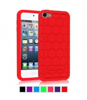 Fintie iPod Touch 6th Generation Case - [Shock Proof] Anti Slip [Honey Comb Series] Silicone Protective Case Cover [Kids Friendly] for Apple iPod Touch 6 / iPod Touch 5, Red