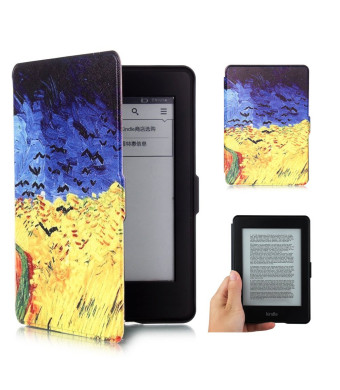 Amazon Kindle Paperwhite Smart Case,iBerry Colorful Leather Cute Protective Case Cover for Amazon All-New Kindle Paperwhite 2015 300 PPI 3rd gen/ 2014/ 2013/ 2012,with Auto Sleep Wake Function,Wheat
