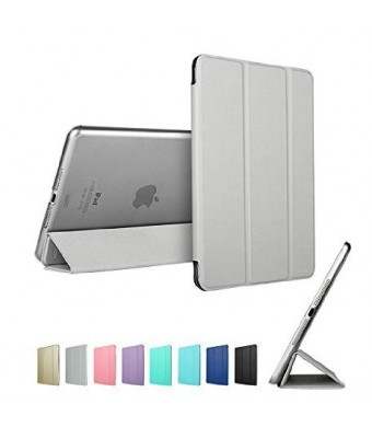 ESR PU Leather Translucent Back Stand Case with Auto Sleep/Wake for Apple iPad mini 4 – Silver Grey