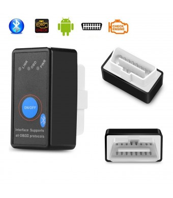 Amtake OBD2 Bluetooth OBDII Scanner OBD Adapter Scan Tool Car Diagnostic Check Engine Light Trouble Code Reader for Android Window with ON/OFF Switch Torque Pro