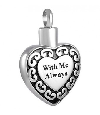 """Lauren Annabelle Studio """"With Me Always Heart"""" Cremation Urn Necklace Stainless Steel Pendant Jewelry"""