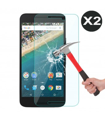 [2 Pack] Nexus 5X Screen protector, OMOTON 0.26 mm 2.5D Tempered Glass Screen Protector for LG Goo