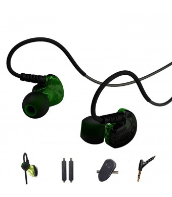 Defway In Ear Sweatproof Sport Workout Headphones Bass Exercise Earpods With Remote and Mic Noise Sound I
