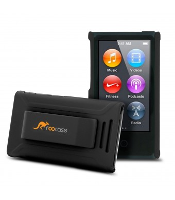 iPod Nano 7 Case - roocase Ultra Slim Fit (Black) Shell Case Cover with Tempered Glass Screen Prot